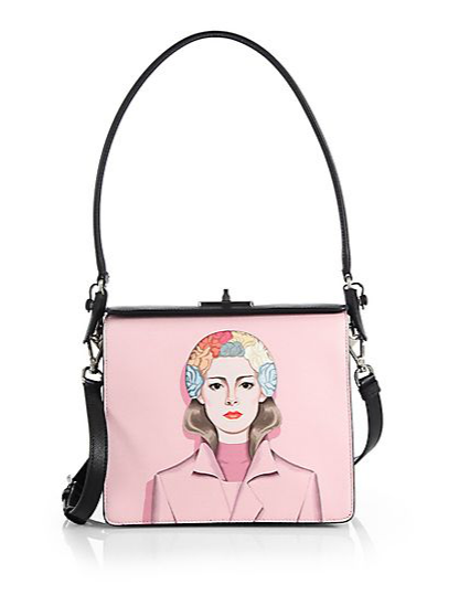 Prada Saffiano Face-Printed  Crossbody Bag, $2,800