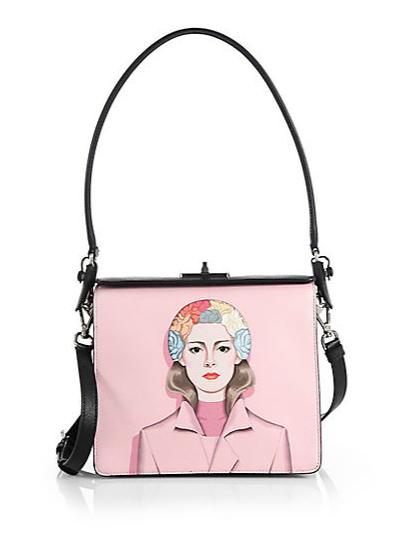 Prada Saffiano Face-Printed  Crossbody Bag, $2,800