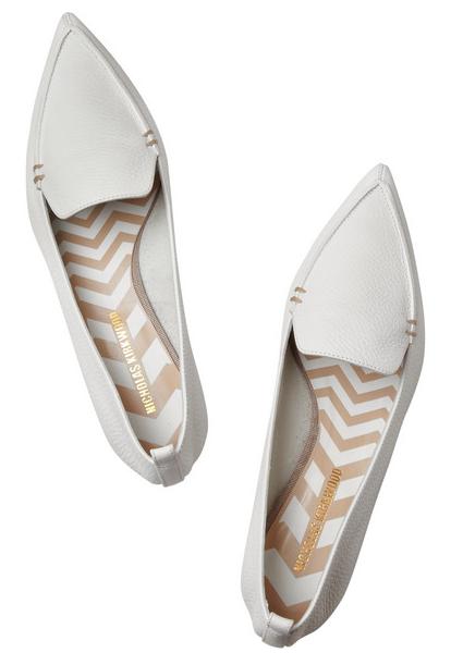 Nicholas Kirkwood Textured-leather point-toe flats, $395
