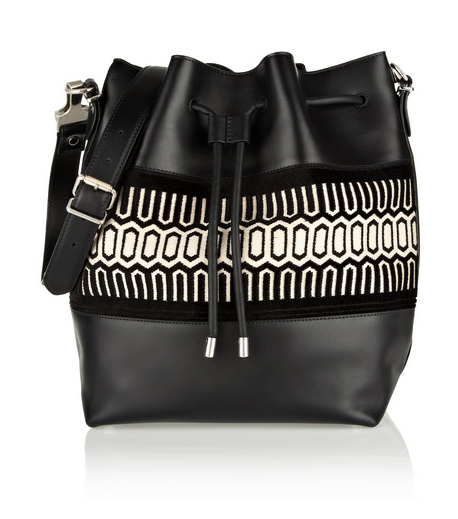 Proenza Schouler Bucket large jacquard-trimmed leather shoulder bag, $1,650