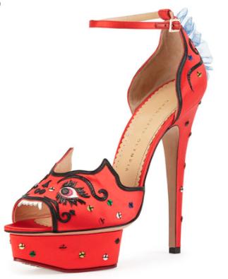 Charlotte Olympia Martia Satin Dragon Sandal, $1,195