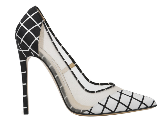 'Bay' - Double Panel Black and White Grid Print Single Sole Pump, $510