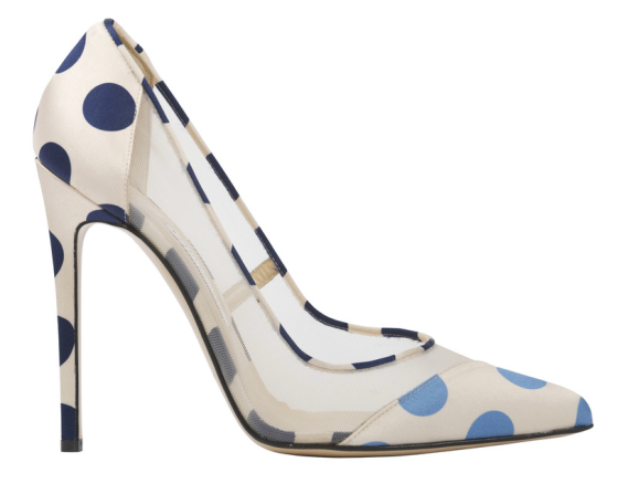 'Bay' - Navy and Sky Blue Polka-Dot Single Sole Pump, $510