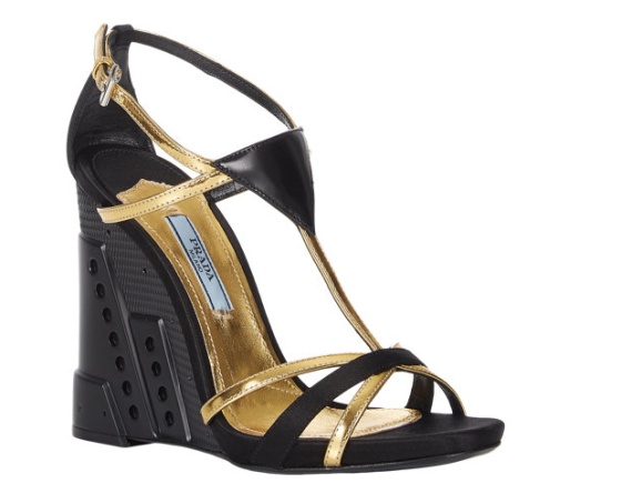 Prada Wedge-Heel Strappy Sandals