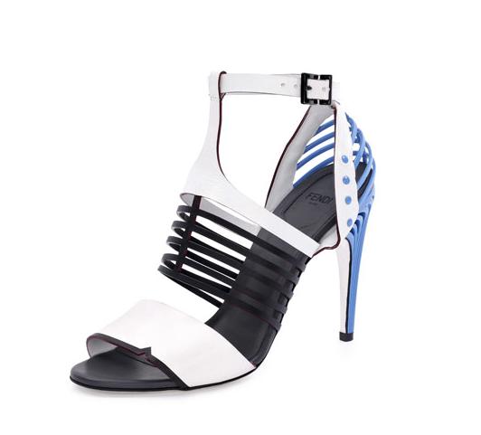 Fendi Cage-Front Metal-Heel Sandal, $1,350