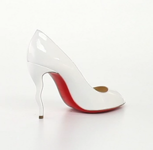 Christian Louboutin Jolly Patent Squiggle-Heel Red Sole Pump, also available in white, $795