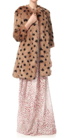 Ainea Caramel Spot Faux Fur Coat, $585