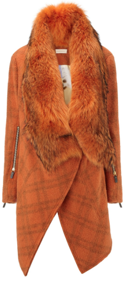 Wunderkind Orange Check Fur Blanket Coat, $3,525 Now $1,762