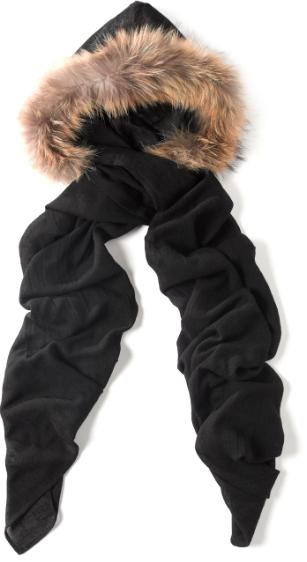 Charlotte Simone Black Natural Fur Hood Scarf, $255