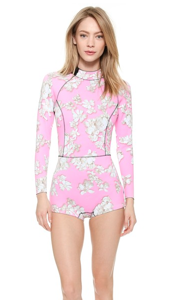 Cynthia Rowley Pink Embellished Floral Wetsuit, $295