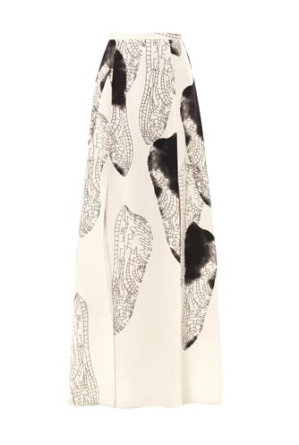 Honor Dragonfly wings-print silk skirt, $1,995 Now $598