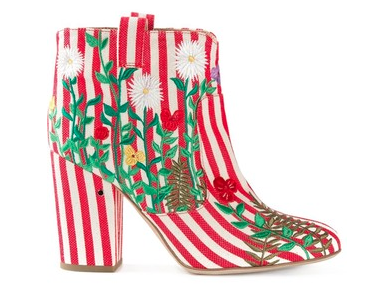Laurence Dacade Embroidered Ankle Boots, red, $748.51
