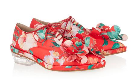 Simone Rocha appliquéd floral-print satin brogues, $1,100