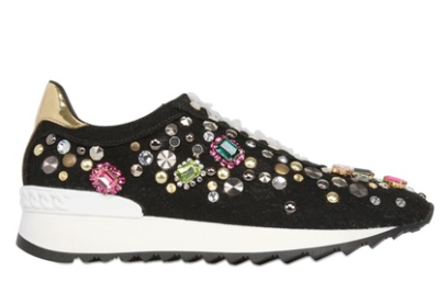 Casadei Limited Edition Embellished Lace Sneakers, $1,014