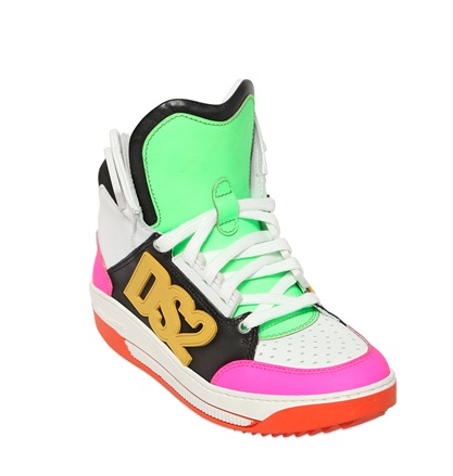 DSquared2 Neon Leather & Nylon High Top Sneakers, $695