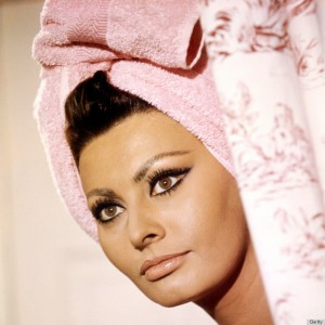 Italian actress Sophia Loren with her hair wrapped in a towel, in 'Arabesque', directed by Stanley Donen, 1966. (Photo by Silver Screen Collection/Getty Images)