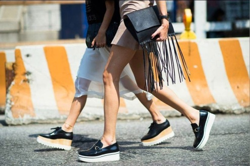 The Elyse, Britt and Binx Flatform shoes by Stella McCartney are currently part of the Fashion Week uniform