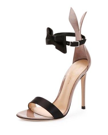 Gianvito Rossi Bow-Tie Ankle-Strap Bunny Sandal, Black/Rosie