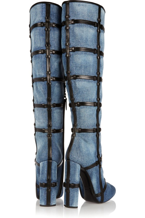 Tom Ford Patchwork denim and leather knee boots, $2,690