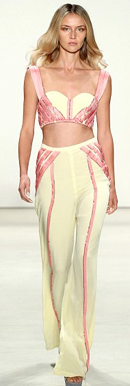 Idan Cohen ss16 yellow pink crop top trousers