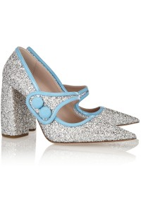 Miu Miu Glittered Patent-Leather Pumps, $755
