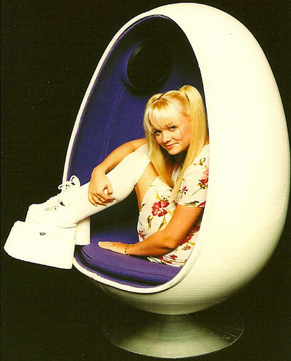 Baby Spice is happy because she has platform sneakers & an egg pod chair.  You, too, can be happy.  Get your egg chair here, and then buy me one, please.