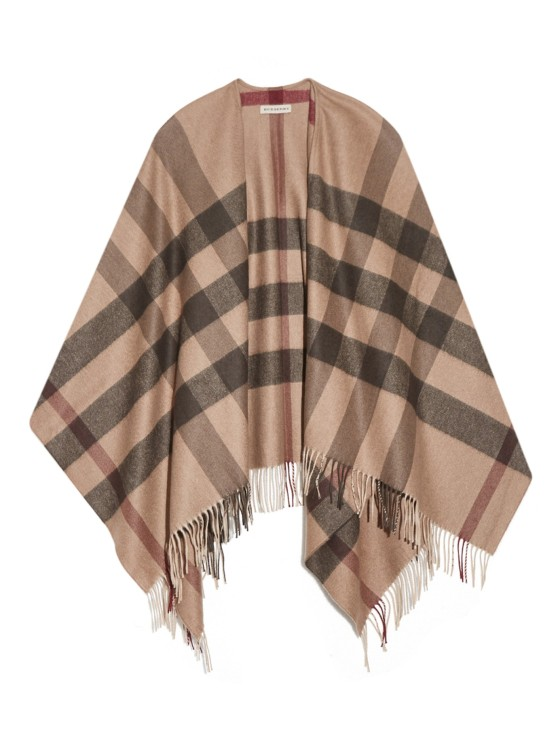 Burberry London Checked cashmere-blend cape, $989