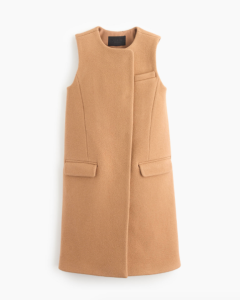 J.Crew Brown Collection Double-faced Italian Wool Sleeveless Coat, $495