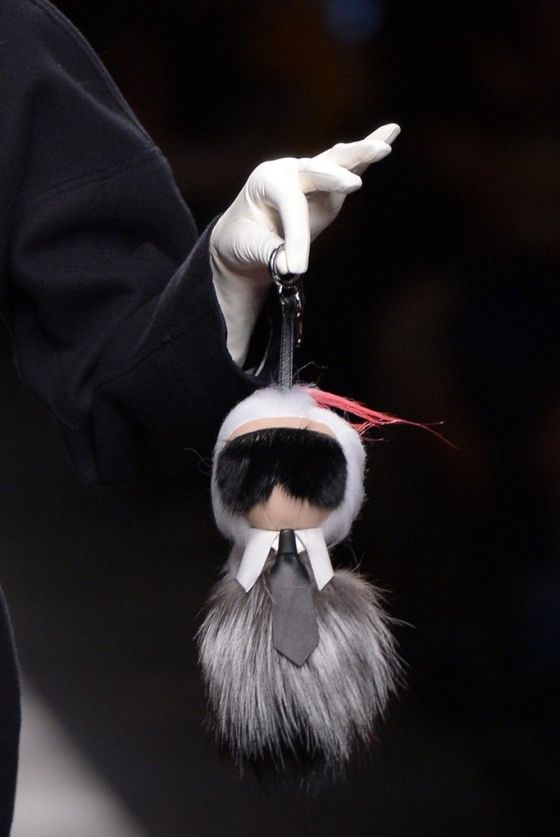 The most coveted bag buggy of them all, featuring the one & only Karl Lagerfeld.  Spotted at Fendi's runway show in Milan.