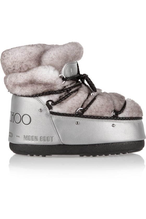 Moon Boot + Jimmy Choo MB Buzz shearling and shell snow boots, $750