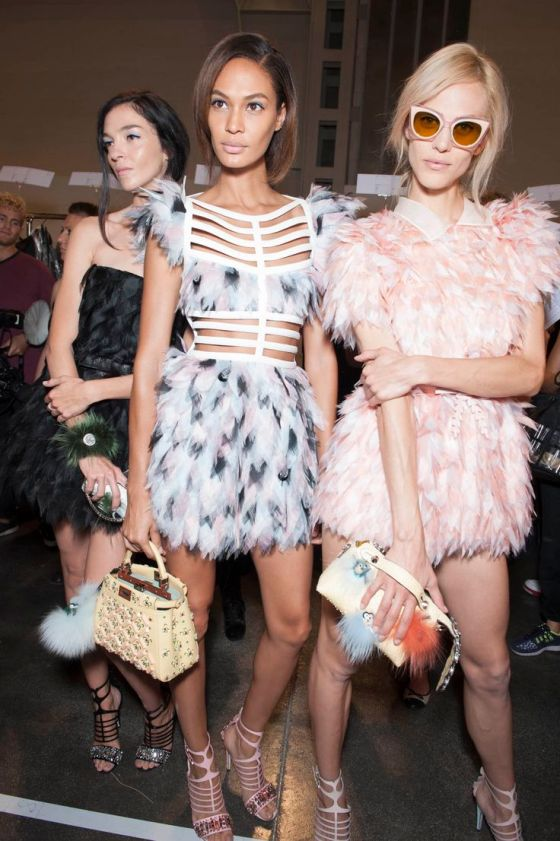 Backstage at Fendi Spring 2015.