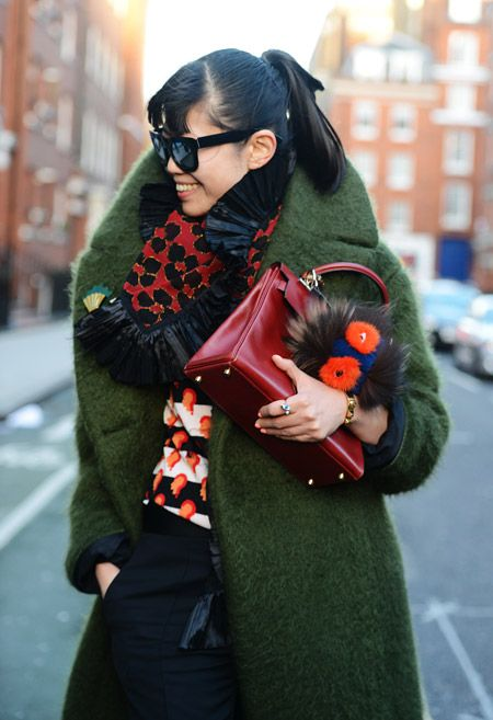 Leaf Greener & her Fendi buggy keeping her Hermes bag warm.