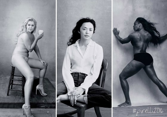 Pirelli's 2016 calendar includes (from left) Amy Schumer, Yao Chen, and Serena Williams