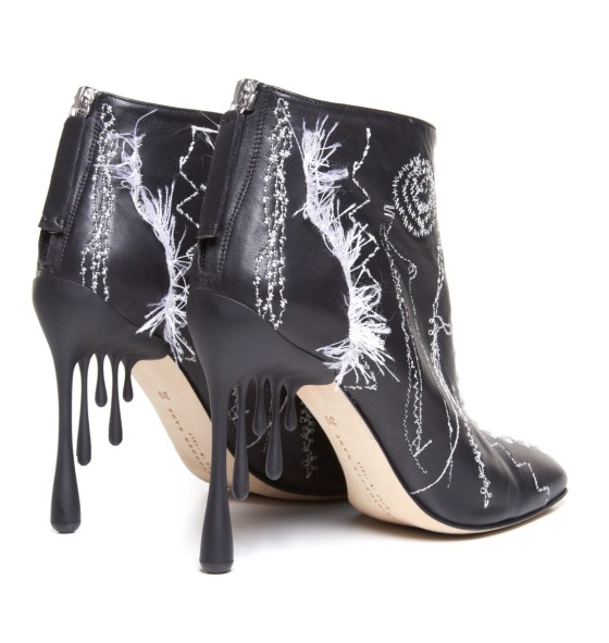 CHRISTOPHER KANE Irregular-stitching leather ankle boots