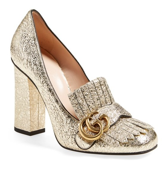 Gucci Marmont Pump, $870, in gold