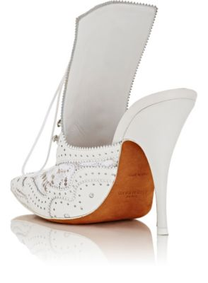 Givenchy Leather & Lace Lace-Up Mules, $995