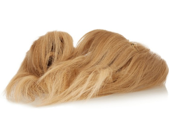 GUCCI Horsebit-detailed goat hair slippers