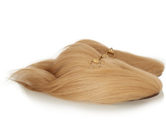Gucci Horsebit-detailed goat hair slippers, $1,800