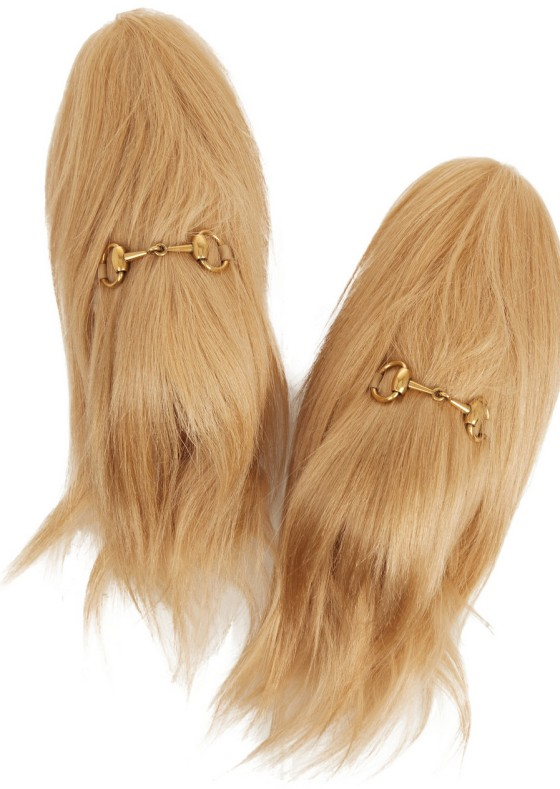 GUCCI Horsebit-detailed goat hair slippers