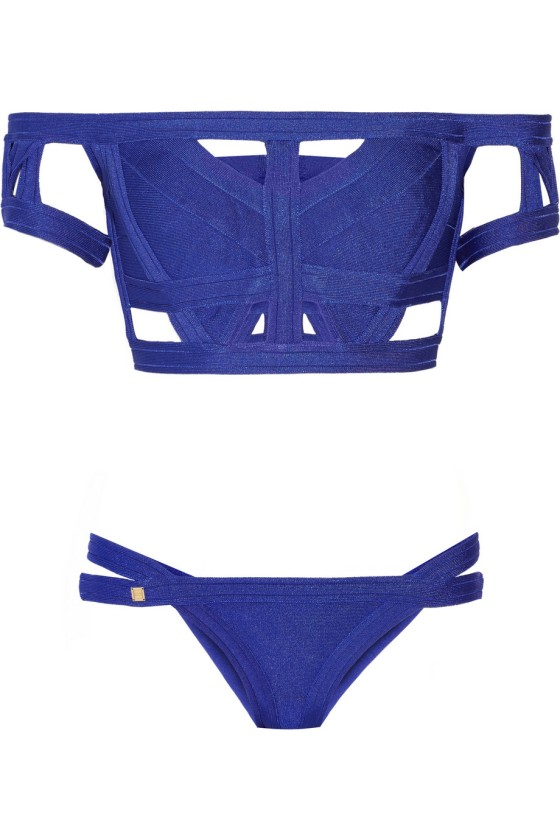 Herve Leger Off-the-shoulder cutout bandage bikini, $1,030