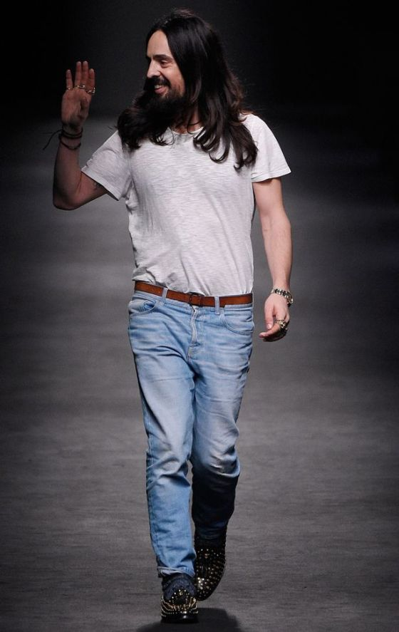 Alessandro Michele walking the runway at Gucci's Autumn/Winter 2016 show
