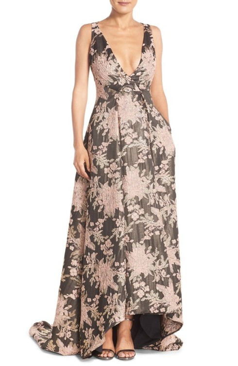 Badgley Mischka Metallic Jacquard High/Low Ballgown $1,190.00