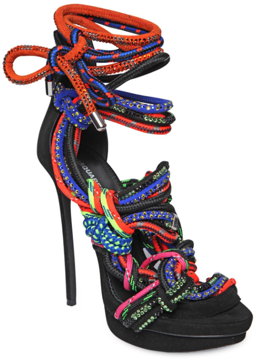 DSQUARED2 SWAROVSKI ROPE & SUEDE SANDALS, $2,845