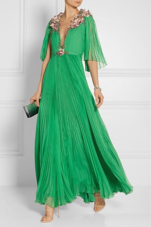 GUCCI Embellished plissé silk-chiffon gown$28,000