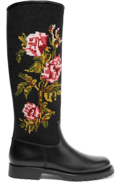 SAINT LAURENT Leather and embroidered canvas rain boots$2,795