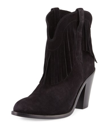 Saint Laurent Curtis Suede Fringe Western Boot, $995.00