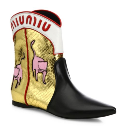 Miu Miu Leather & Metallic Flat Cowboy Boots, $2300 Now $1610