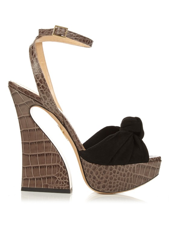 Charlotte Olympia Vreeland Crocodile-effect Leather Sandals, $910