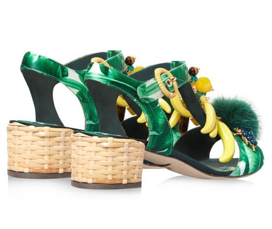 Dolce & Gabbana Banana leaf-print embellished sandals, $1,745