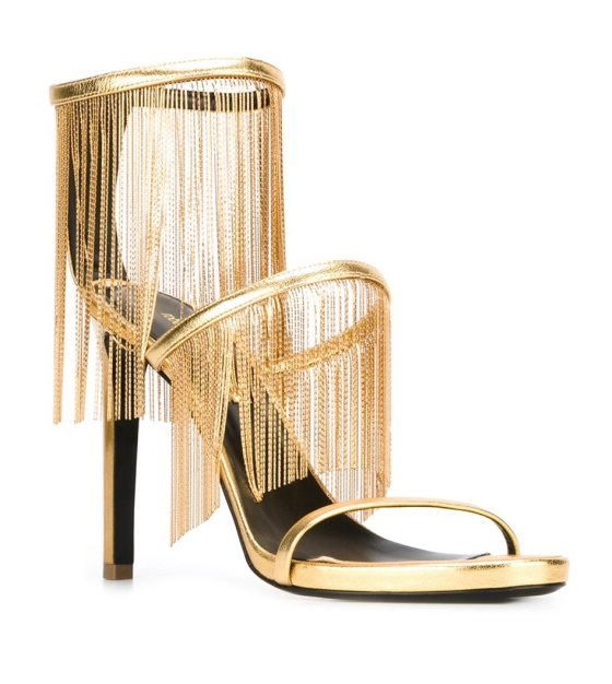 Roberto Cavalli fringed metallic sandals, $1,670.54